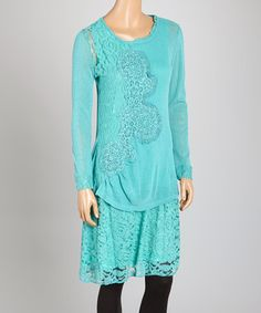 Look what I found on #zulily! Aqua Lace Linen-Blend Tunic by Pretty Angel #zulilyfinds
