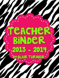 Teacher Binder - Zebra Print and Hot Pink/Neon Green Theme $