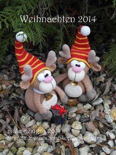 kleine Elche, Weihnachten 2014, pdf Häkelanleitung von mala designs auf DaWanda.com