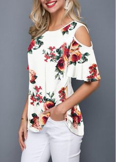 Blossom Print Cold Shoulder Round Neck T Shirt Trendy Tops For Women, Blouses For Women, Cute Tops, Blouse Designs, Plus Size Outfits, Fashion Dresses, Fashion Tips, Clothes, Cold Shoulder Tops