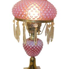 Vintage Fenton Hobnail Cranberry Lamp