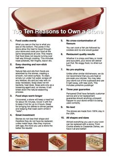 Top 10 reasons to OWN Pampered Chef stoneware get yours today @ www.pamperedchef.biz/kirstenmercier be sure to find me on Facebook https://m.facebook.com/pcwithkirstenmercier