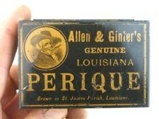 28919 Old Vintage Antique Cigarette Tobacco Box Tin Allen Ginter Perique Louis..