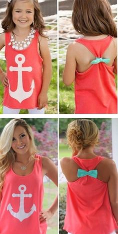 A personal favorite from my Etsy shop https://www.etsy.com/listing/292089107/mommy-and-me-matching-anchor-bow-tank