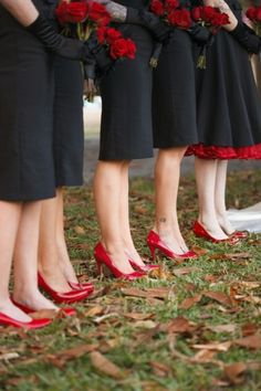 Red And Black Wedding Ideas love this... that's what I want my bridesmaids to look like