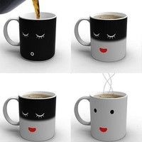 I think you'll like Smilling Face Magic Color Changing Mug Cup High Quality Ceramic Coffee Cup 350ML. Add it to your wishlist!  http://www.wish.com/c/542ad8e311f2050c83e1aa37