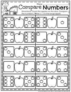 Math Worksheets for kindergarten - Comparing Numbers. Number Worksheets Kindergarten, Preschool Math, Kindergarten Activities, Comparing Numbers Worksheet, Math Numbers, First Grade Math, Baby Kind, Math Games, Math Centers