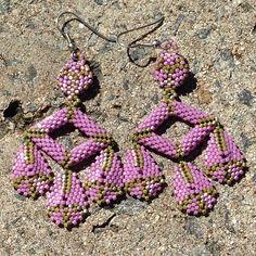 "Handmade chandelier earrings made using delica beads, herringbone and peyote stitch. Inspired by Diane Fitzgerald's ""Shaped Beadwork & Beyond"". j_valiente's photo on Instagram"