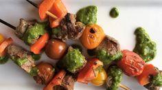 Three ways with lamb - lamb rump skewers with salsa verde, lamb, date and kumara meatballs, lamb loin chops with anchovies and lemon