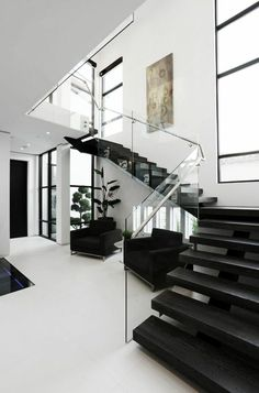 luxury house design, glass banister, transparent, modern staircase … - Home & DIY Modern House Design, Modern Interior Design, Interior Architecture, Modern Kitchen Design, Contemporary Interior, Amazing Architecture, Modern Staircase, Staircase Design, Staircase Ideas