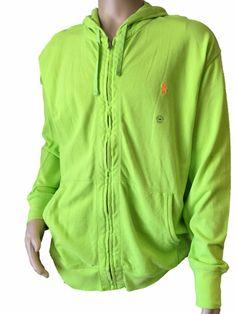 Polo Ralph Lauren Lime Green Orange Pony Full-Zip Big & Tall Sweatshirt Hoodie