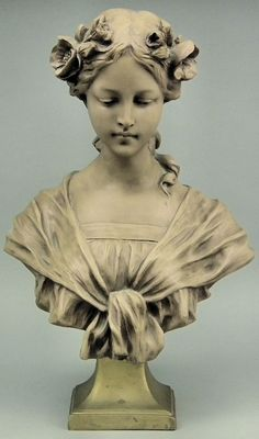 George Van Vaerenbergh (1873-1927) - Resin bust - Young woman with flowers in her hair.