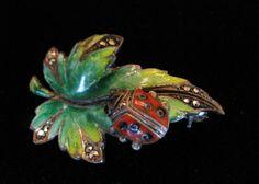 Vtg Signed Sterling Silver Vibrant Enamel Leaf Ladybug Brooch Pin Germany 1930 | eBay