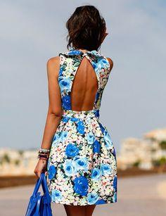 1sillaparamibolso, Vestido de flores azules