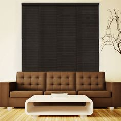 Chicology Deluxe Adjustable Sliding Panel / Cut to Length, Curtain Drape Vertical Blind, Natural Woven, Privacy - Tuscany Black, Tuscany Black (Natural Woven) Sliding Panels, Sliding Windows, Window Panels, Sliding Glass Door, Large Windows, Patio Door Coverings, Window Coverings, Horizontal Blinds, Hidden Spaces
