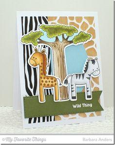 Wild Things stamp set and Die-namics, Blueprints 21 Die-namics, Stitched Fishtail Flag STAX Die-namics, Giraffe Stencil, Zebra Stencil - Barbara Anders #mftstamps