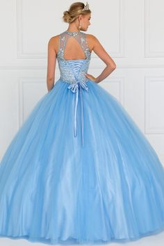 Solid light blue color with beaded illusion neckline and overlay with jewels, lace up bodice closure and open back. Suggested petticoat to be worn to achieve fuller skirt shape. Petticoat not included. Quince Dresses, 15 Dresses, Cute Dresses, Beautiful Dresses, Formal Dresses, Junior Pageant Dresses, Quinceanera Dresses, Colored Wedding Dress, Mesas