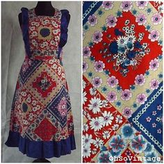 Vintage-1970s-Boho-Hippy-Patchwork-Dress-Festival-Party-Summer-Cotton-Dress-8-10
