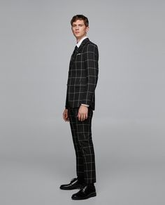 ZARA - MAN - WINDOW PANE CHECKED SUIT TROUSERS