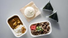 Put Put – Gyudon und Onigiri Thai Restaurant, Chicken Curry, Gyudon, Shiitake, Thai Curry, Food, Japanese Ceramics, Japanese Meals, Rice Dishes