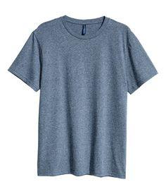 Blue melange. Crew-neck T-shirt in soft jersey.