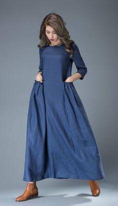 Maxi blauwe linnen jurk - Cobalt Long Lagenlook voorjaar zomer handgemaakte Casual dagelijks vrouw jurk met halve mouwen C803