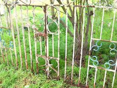 1700s -1800s Antique French English Country Cottage Estate Ornamental Wrought Iron Painted Architectural Landscaping Farmhouse Garden Gates