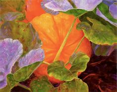 "Painting image of pumpkins   Pumpkin Patch, ""Original Pumpkin Oil Painting on Canvas"" by Marina ..."