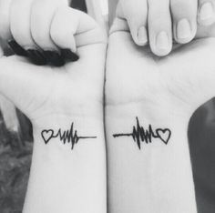 Heartbeat couple tattoos