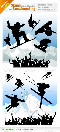 Skiing and Snowboarding Designs — Photoshop PSD #speed #winter • Available here → https://graphicriver.net/item/skiing-and-snowboarding-designs/1369231?ref=pxcr