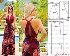 Maxi dress pattern with open back Diy Clothing, Sewing Clothes, Clothing Patterns, Dress Patterns, Sewing Patterns, Dress Sewing, Diy Fashion, Ideias Fashion, Fashion Design