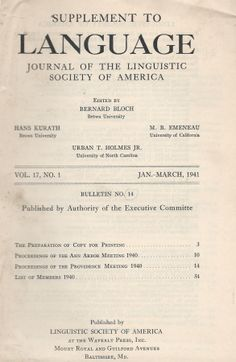 Supplement to Language: Journal of the Linguistic Society of America – 1941