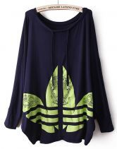 #Sheinside Purple Long Sleeve Drawstring Clover Print T-Shirt