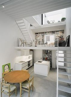 mezanine above kitchen with stairs - how cool is that! (Ksenya does not like it...)