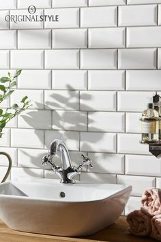 Use these Brilliant White Metro Tiles from the Artworks Range by Original Style to create a crisp, clean look in bathrooms and kitchens.