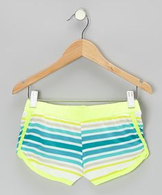 Look what I found on #zulily! Yellow & Teal Stripe Neon Butterfly Shorts - Girls by Tru Luv #zulilyfinds