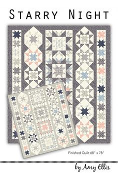 Color Scheme - blues, grays, blush and whites - Starry Night - A fun star row quilt pattern by Amy Ellis Sampler Quilts, Lap Quilts, Strip Quilts, Small Quilts, Mini Quilts, Quilt Blocks, Star Blocks, Scrappy Quilts, Quilting Tutorials