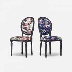 Anselm Reyle for Dior, custom Louis XVI chairs, pair