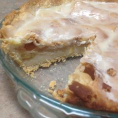"Glazed Apple Cream Pie | ""All I have to say about this pie is YUM! The custardy filling and the spiced apples combine to make something so wonderfully delicious."""