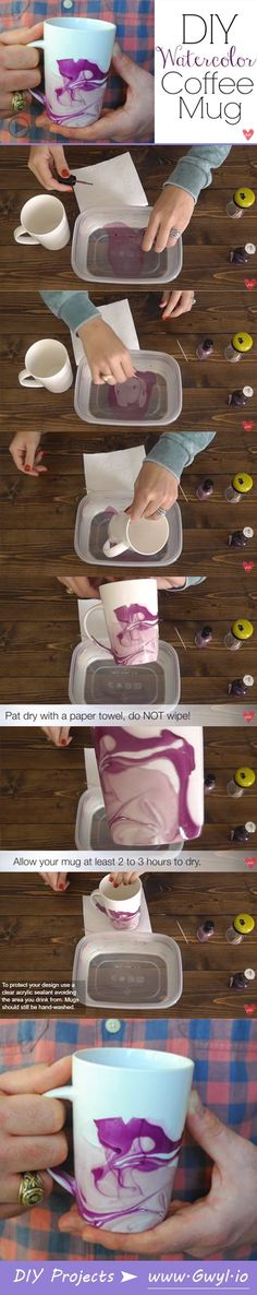 Learn how super simple it is to create these lovely marbled coffee mugs! | Create A Gorgeous DIY Watercolor Coffee Mug | Read & Watch the tutorial here--> http://gwyl.io/create-gorgeous-diy-watercolor-coffee-mug/