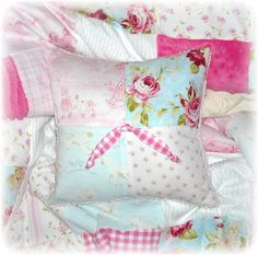 Little Lambs & Roses Vintage Chenille Baby Girl by Toytownquilts