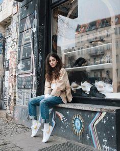 Get this look: http://lb.nu/look/8996394  More looks by Frankie Miles: http://lb.nu/frankiemiles666  Items in this look:  Weekday Jeans Jacket Beige, Woodwood Pasta And Magic Shirt, Lee Momjeans, Nike Sneaker   #streetwear #streetstyle #teamcozy #sneakergirl #frankiemiles #vintagestyle #messyhair #wildchild #grungegirl