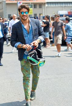 So cool in his denim shirt and patterned skinnies...Milan