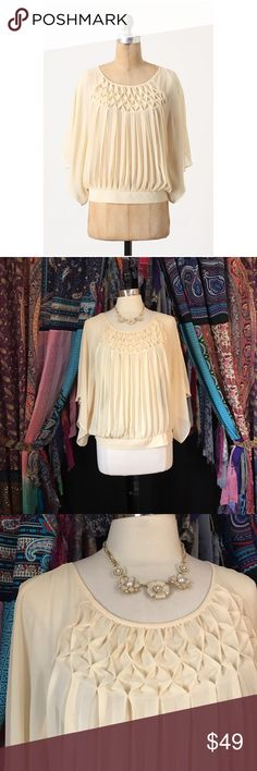 """Anthropologie Meadow Rue Flyaway Blouse size large 🦄 Size large. Meadow Rue from Anthropologie. """"Graceful kimono sleeves and delicate, pintucked chiffon have us on cloud nine. By Meadow Rue."""" Material is 100% polyester. Looks even more expensive & elegant in person!! 🦄 Anthropologie Tops Blouses"""