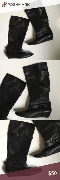 Aldo knee length boots. Size 7.5 Aldo black mid length boots. Size 7.5. Gently used but in still great condition. Minor flaws a little salt (from winter) on right one/missing little buckle latch. Super glue would work. Note: Aldo says 38 for 7.5 Aldo Shoes Combat & Moto Boots