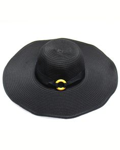 """Ladies / Black / 100% Polyester / Ruffle 5"""" Brim With Ring Accessory Floppy Hat / One Size"""