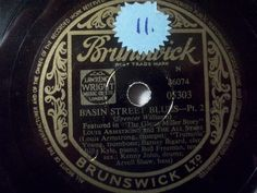 "First and Big Auction 78rpm in 2017 Come in & find out :-)  !!! Startprice only 1,99 Euro !!!LOUIS ARMSTRONG & HIS ALL STARS ""Basin Street Blues Pt. 1 & 2"" Brunswick 78rpm"