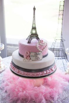Ooh La La It's a Girl | Pink and Black Eiffel Tower Paris Baby Shower Cake #parisshower #girlbabyshower #showerideas