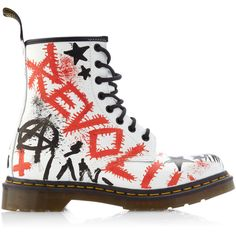 Dr. Martens M'O Exclusive: Dr Martens Graffiti'd by Klughaus (€380) ❤ liked on Polyvore featuring shoes, boots, ankle booties, zapatos, doc martens, real leather boots, leather boots, genuine leather boots, leather booties and lace-up boots