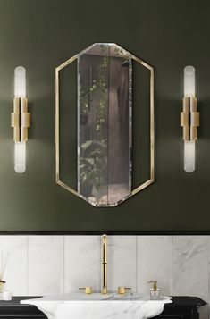Sapphire mirror gets its name from its resemblance to the blue precious stone: Sapphire. Made out of Cornered Polished Brass this mirror is a versatile piece for luxury bathrooms. It can be displayed in both vertical or horizontal orientation. Contemporary Bathroom Designs, Bathroom Design Luxury, Luxury Interior Design, Interior Design Inspiration, Modern Design, Luxury Bathrooms, Small Bathrooms, Design Ideas, Contemporary Decor